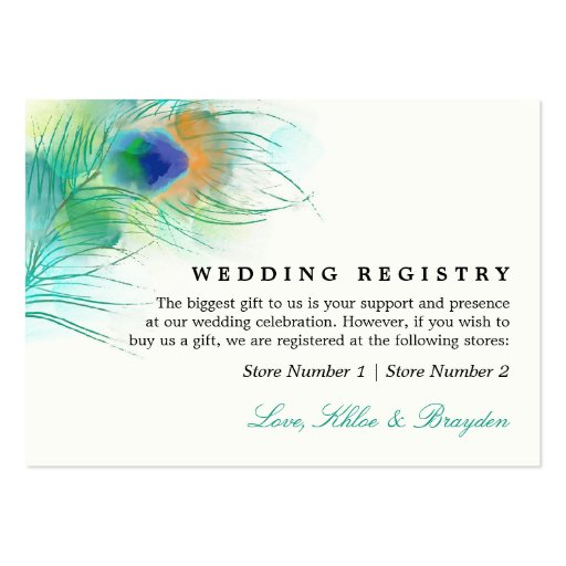 Watercolor Peacock   Wedding Gift Registry Business Cards
