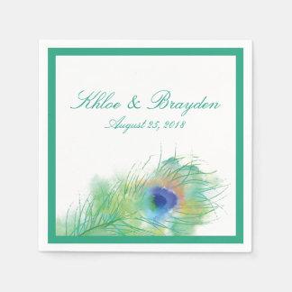 Watercolor Peacock Wedding Paper Napkin