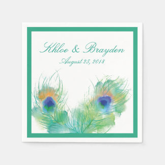 Watercolor Peacock Wedding Paper Napkins