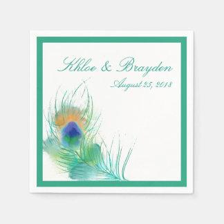 Watercolor Peacock Wedding Disposable Napkins