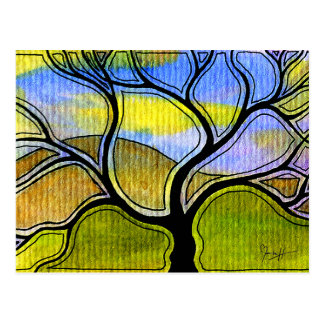 Watercolor Pen and Ink Tree and Mountain Postcard