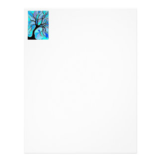 Watercolor Pen and Ink Tree - Blue Letterhead