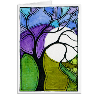 Watercolor Pen and Ink Tree Card