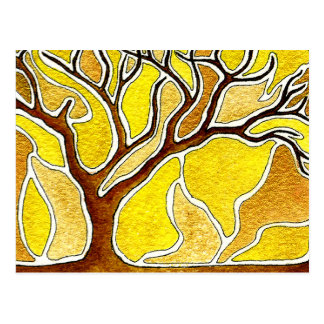 Watercolor Pen and Ink Tree - Yellow Gold Postcard