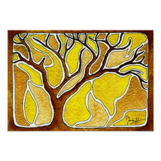 Watercolor Pen and Ink Tree - Yellow Gold Poster