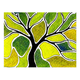 Watercolor Pen and Ink Tree - Yellow Green Postcard