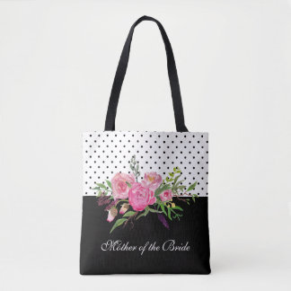 Watercolor Peonies and Dots Tote Bag
