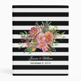 Watercolor Peonies and Stripes Mini Binder