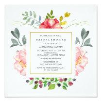 Watercolor Peonies Bridal Shower Card