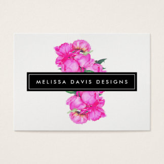 Watercolor Peonies Bunch Floral Designer Business Card