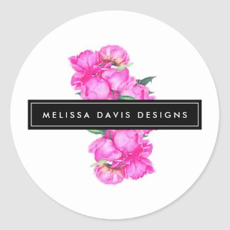 Watercolor Peonies Bunch Floral Designer Classic Round Sticker