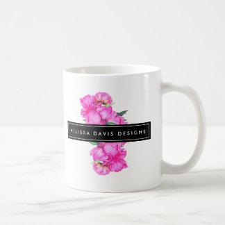 Watercolor Peonies Bunch Floral Designer Coffee Mug
