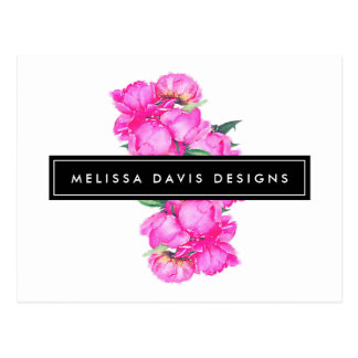 Watercolor Peonies Bunch Floral Designer Postcard