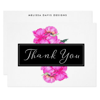 Watercolor Peonies Bunch Thank You Card
