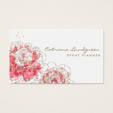 Professional Business Watercolor Peonies Chic Business Card