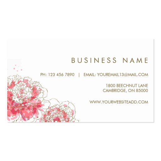 Watercolor Peonies Chic Business Card (back side)