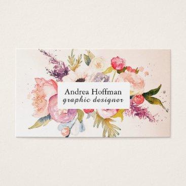 Professional Business Watercolor Peonies Custom Business Card