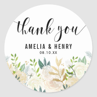 Watercolor Peonies Gold Foil Wedding Thank You Classic Round Sticker