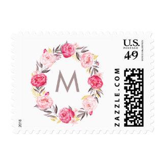 Watercolor Peonies Monogram Wedding Stamp
