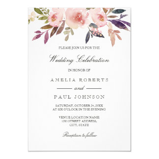 Watercolor Peonies Purple Pink Wedding Invitation