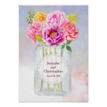 Watercolor Peonies Roses Rustic Mason Jar Wedding Poster
