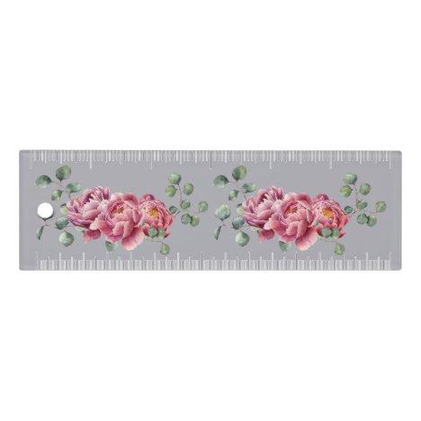 Watercolor Peonies Sprig 6 inch Ruler