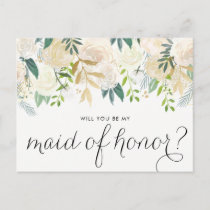 Watercolor Peonies Will You Be My Maid of Honor Invitation Postcard