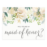 Watercolor Peonies Will You Be My Maid of Honor Postcard<br><div class='desc'>As your friends and family to be a part of your wedding with this floral &quot;Will You Be My Maid of Honor&quot; card featuring watercolor peonies with gold foil and gold glitter accents with feminine calligraphy script. Matching items are available.</div>