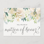 """Watercolor Peonies Will You Be My Matron of Honor Invitation Postcard<br><div class=""""desc"""">Ask your friends and family to be a part of your wedding with this floral &quot;Will You Be My Matron of Honor&quot; card featuring watercolor peonies with gold foil and gold glitter accents with feminine calligraphy script. Matching items are available.</div>"""