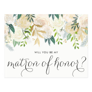 Watercolor Peonies Will You Be My Matron of Honor Postcard