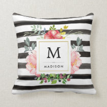 Watercolor Peonies with Black and White Stripes Throw Pillow