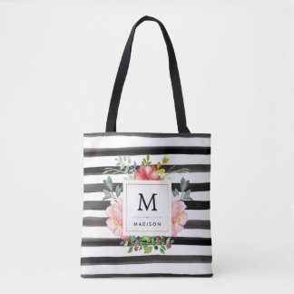 Watercolor Peonies with Black Stripes and Monogram Tote Bag