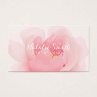 Watercolor Peony Bloom Floral Business Cards