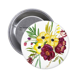 Watercolor Peony Bouquet Pinback Button