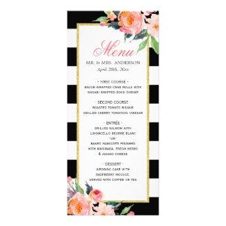 Watercolor Peony Floral Black Stripes Wedding Menu