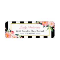 Watercolor Peony Flowers Black White Stripes Label