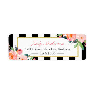 Watercolor Peony Flowers Black White Stripes Label
