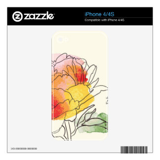 Watercolor Peony Flowers Skins For iPhone 4