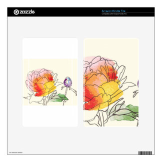 Watercolor Peony Flowers Skins For Kindle Fire