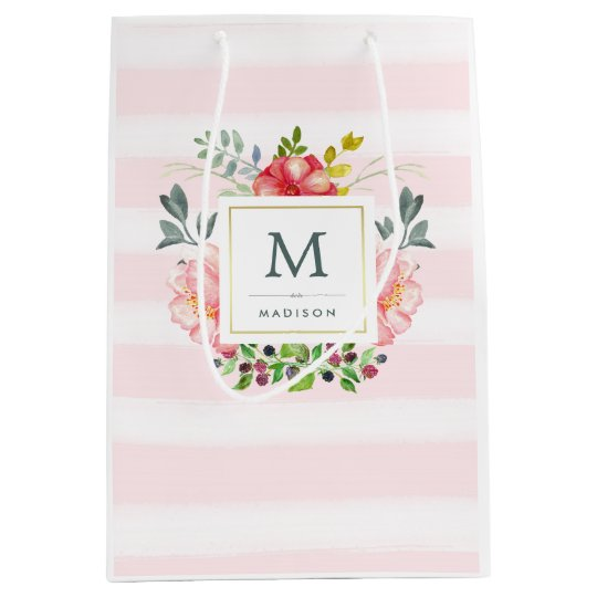 Watercolor Peony Flowers With Monogram And Stripes Medium Gift Bag