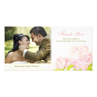 Watercolor Peony Modern Wedding Thank You Card