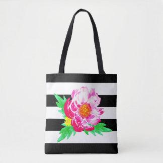 Watercolor Peony On Black&White Stripes Tote Bag