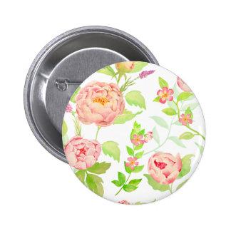 Watercolor peony pattern pinback button