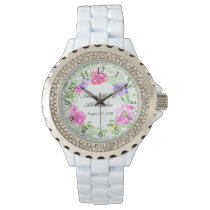 Watercolor Peony Pink Green Floral Wedding Wrist Watch