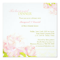 Watercolor Peony Wedding Rehearsal Dinner Card