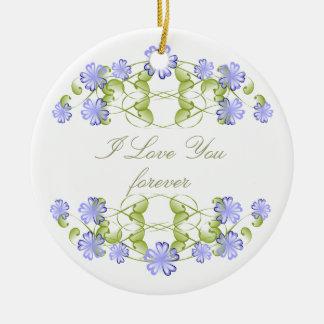 Watercolor Periwinkle Blooms Ceramic Ornament
