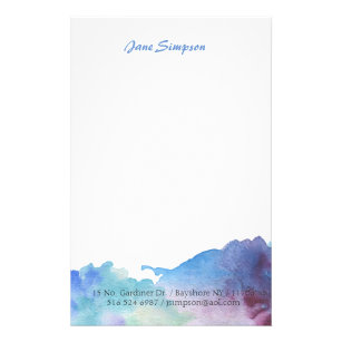 watercolor personal stationary stationery