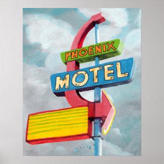 Watercolor Phoenix Motel Poster