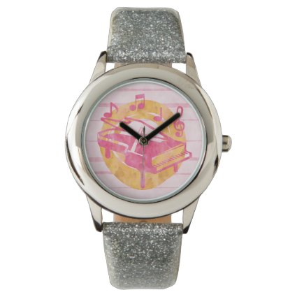 Watercolor piano and musical notes wristwatches