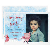 Watercolor Piggy Birthday-Christmas Party Photo Invitation